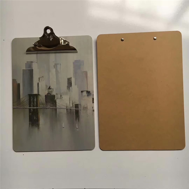 2019 New Product Full color UV printing MDF Clipboard With Butterfly Clip
